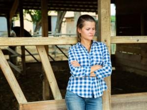 Despondent female farmer