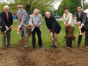 The groundbreaking ceremony included (left to right) OARDC Director Steve Slack, CFAES Dean Bruce McPheron, FABE associate chair Harold Keener, Ohio Rep. Ron Amstutz, Wayne County Commissioner Anne Obrecht, and Ohio Sen. Frank LaRose. (Ken Chamberlain)