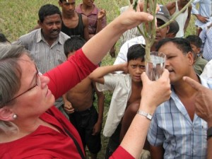 Sally Miller (here in Bangladesh) has years of experience helping to fight vegetable diseases in the developing world.