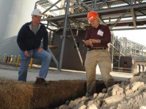 Scientist Warren Dick at coal-burning power plant with FGD gypsum