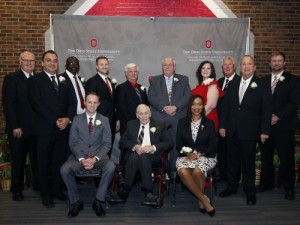 PHOTO: Front row, from left: Chris Henney, Floyd Poruban, Kristi-Warren Scott. Back row, from left: Associate Dean and Director of Academic Programs Steven Neal, Richard Edema, Leandro Cruppe, Bo Harstine, Bryan Garton, Steve Goodwin, Leah Curtis, Bob Birkenholz, Virgil Strickler, Alumni Board President Nick Rettig.