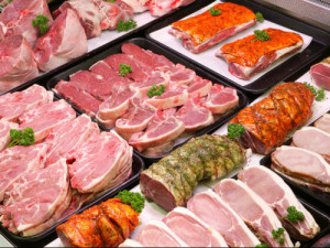 A supermarket meat counter