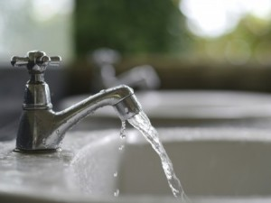 Clean water flowing from faucet
